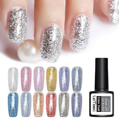 LEMOOC 8ml Platinum Soak Off Gel Polish Glitter Nail Art UV Gel Varnish Manicure