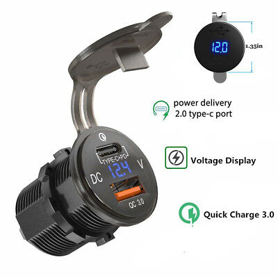 2in1 QC 3.0 USB Type C Charger Power Outlet Adapter Voltage Display Car Boat ATV