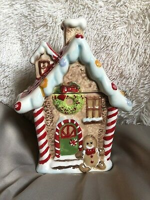Christmas Holiday Ceramic Gingerbread House Cookie Jar by Potter's Studio