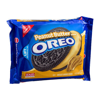 New Sealed Nabisco Peanut Butter Creme Oreo 15.25 Oz Chocolate Sandwich Cookies