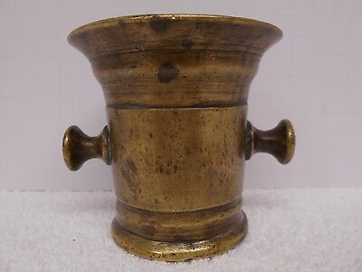 """Antique Brass Mortar Stamped 33 5 Apothecary Pharmacy Drug Compounding 3 1/2"""""""