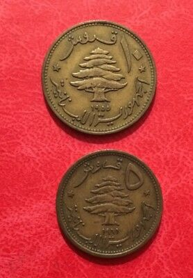 Lebanon 10 Piastres 1955 and 5 piasters 1961  , Sailing Ship-Cedar Tree ( H13)
