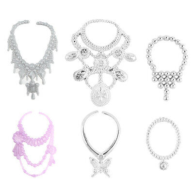 6pcs Fashion Plastic Chain Necklace For Barbie Doll Party Accessories WU