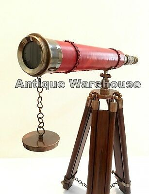Antique Brass Leather Telescope With Wooden Tripod Vintage Marine Scope Decor