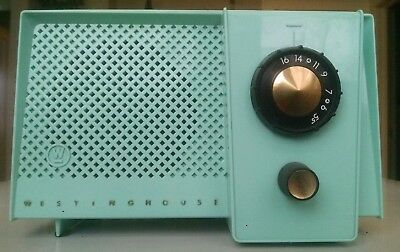 1956 Westinghouse Mint Green & Gold AM Tube radio model H7424 works great