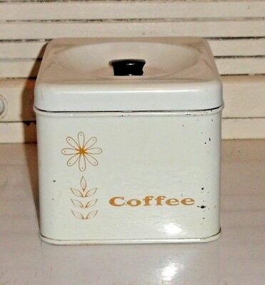 Vintage Coffee Kitchen Canister With Floral Design Usa