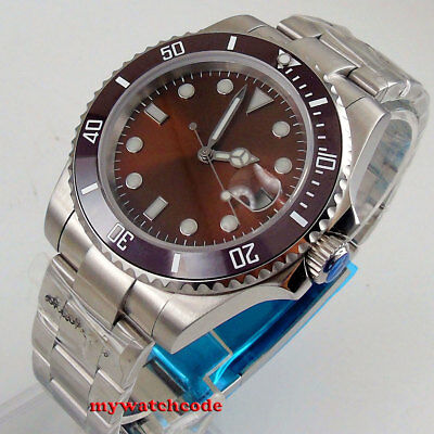 40mm coffee sterile dial vintage date window sapphire glass automatic mens watch