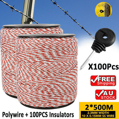 1000m Roll Polywire for Electric Fence Stainless Steel + 100X Screw Insulators