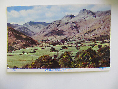 Langdale Pikes and Valley, Lake District - Vintage Locally Produced Postcard