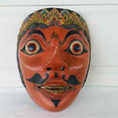 Tribal Wood Face Mask Bali Indonesia Wooden Carved Decorative Vintage