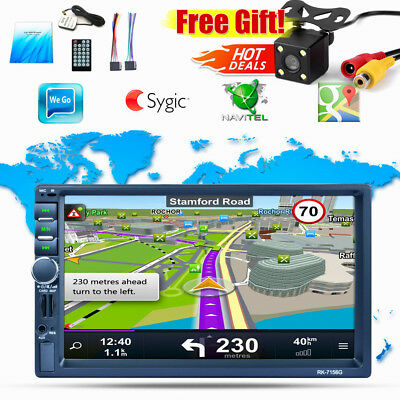 """2 Din Double 7"""" Touch Screen Car MP5 GPS Player BT Radio Camera AUX GPS + Camera"""