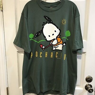 Sanrio Pochacco Golf Short Sleeve Green Graphic T-Shirt Vintage New 1989 XL