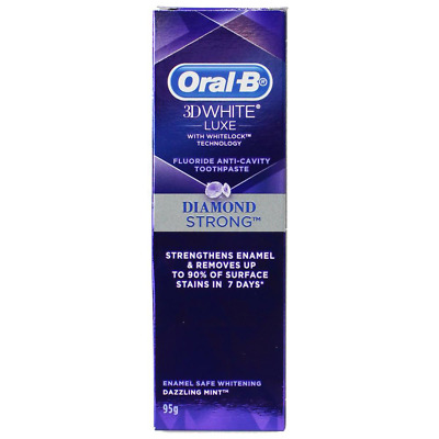 12 X ORAL B 95g TOOTHPASTE 3D WHITE LUXE DIAMOND STRONG DAZZLING MINT