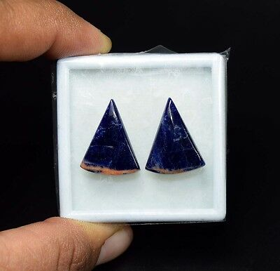 15.55 Cts. 100% Natural Pair Of Multi Sodalite Fancy Cabochon Loose Gemstones