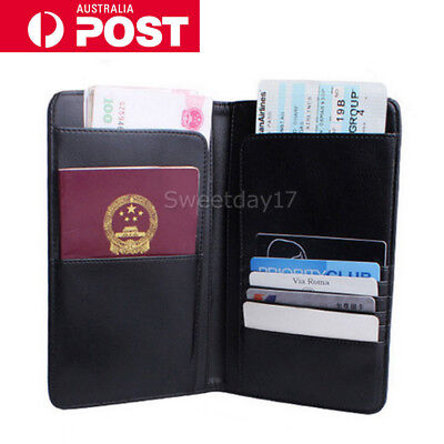 Black Travel Wallet RFID Blocking Anti Scan Long Passport Holder PU Leather AU