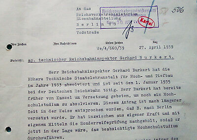 Letter from the Office of Technology - Berlin 1939