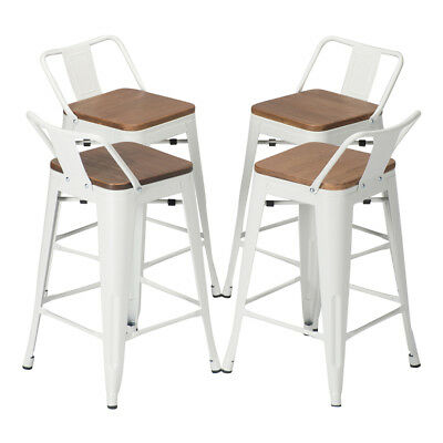 Set Of 4 Metal Bar Stool 24 Counter Stools Low Back Barstool Wooden