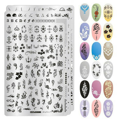 1x Nail Stamping Plates Flower Geometry Feather Lace Stainless Steel Nail Decors