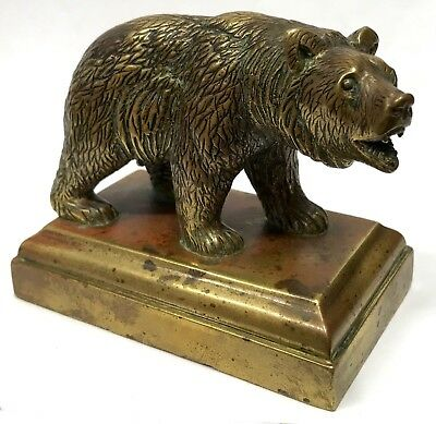 Stunning Antique Black Forest Style Bronze Bear Paper Desk Weight Figure Statue