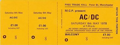 "Rare Ac/dc 1978 ""powerage"" Uk Tour Unused Concert Ticket"