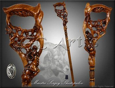 Walking Stick Cane RAM Dark Wooden hand made wood hand carved handcrafted handle