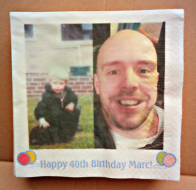 Birthday Photo serviettes Full Colour Wedding Anniversary 12 paper napkins