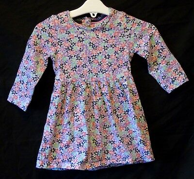 Baby Girls Mothercare Purple Pink Ditsy Floral Long Sleeve Dress Age 9-12 Months