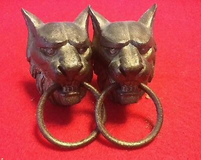 2 Gilt Metal Lion Head Loop Ring Handle Appliqués From Clock Or similar