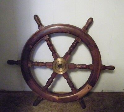 antique ships wheel brass middle used condition very nice  21' across circle