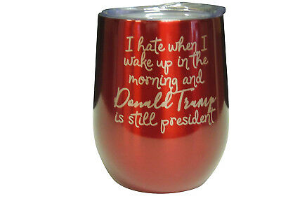 (Red) - Not MY President 330ml Wine Cup - Trump, Double Insulated Stainless