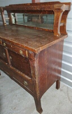 Antique Mission Oak Arts & Crafts Prairie Style Rockford Sideboard Buffet *AS IS