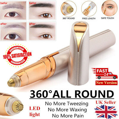 Electric Finishing Facial Hair Eyebrow Remover Painless Brows Trimmer LED Light