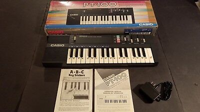 TESTED GOOD Casio PT-100 Electronic Keyboard Synthesizer With A/C Adapter