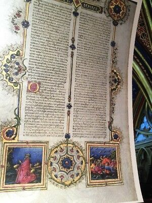 Bible of Borso D'Este manuscript. Size: 5x7 inches GOLD Accents PEN ART WORK NEW