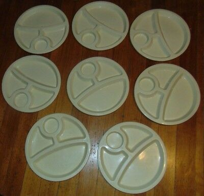 Divided Plastic Plates Trays Eagle Made in USA Camping Hunting Picnic Lot of 8