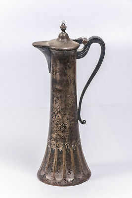 Antique German Elegant WMF Marked Silverplate Jug, Bottom Fluted w/Dolphins H 9""
