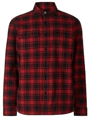 Ex M&S Jacket Coat Fleece Checked Borg Lined Cotton Shacket Warm Marks Spencer