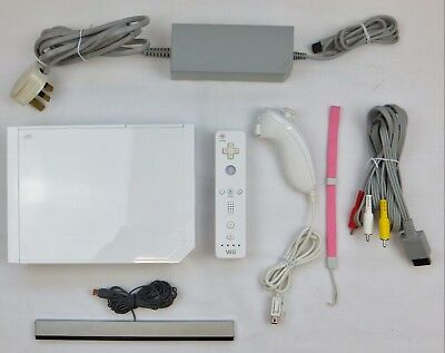 Nintendo Wii Console + All Leads Remote Nunchuk & 1 Good Game -Choose From List.