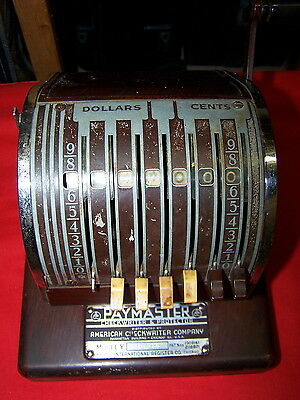 Old International Register Co American Checkwriter Paymaster Mod#y 307989