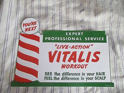 "Rare Vintage 1950's Barbershop VITALIS Window Sign Hair Tonic Sign ""YOUR NEXT"""