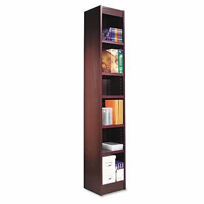 Alera ALEBCS67212MY Narrow Profile Bookcase, Wood Veneer, Six-Shelf, Mahogany