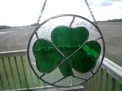 STAINED GLASS WINDOW HANGING GREEN 3 LEAF CLOVER , 8.75 inch diameter