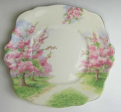 Royal Albert China BLOSSOM TIME Square Handled Cake Plate EXCELLENT