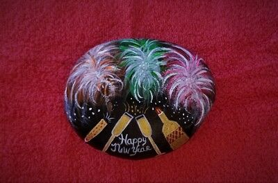 New Year, Christmas, Hand Painted, River Rock, Art, Acrylic, Paper weight,