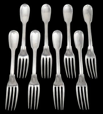 8 French Antique c1815 Sterling 950 Silver Threaded Fiddle Dinner Forks 8 1/4""