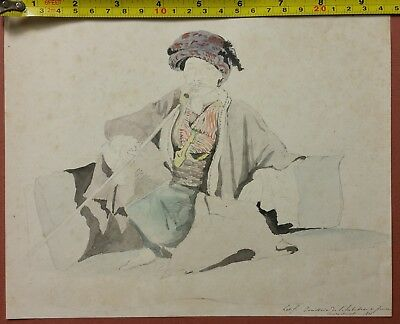 turkish ottoman orientalist watercolour 1826 military police for ambassador