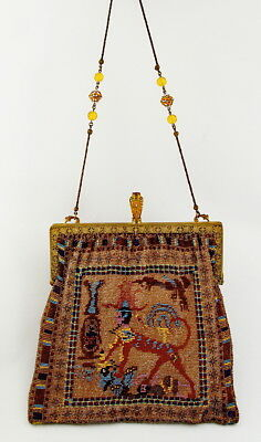 1930's REDISCH Custom EGYPTIAN REVIVAL SCENIC LARGE BEADED BAG - PURSE - As Is