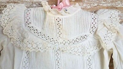 Antique c1880's Large Doll Childs Drop Waist Dress Lace Embroidery Victorian