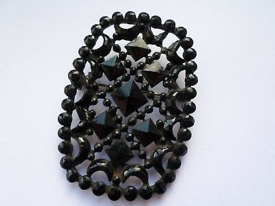 Antique late 19th or early 20th century French Jet (black glass) brooch