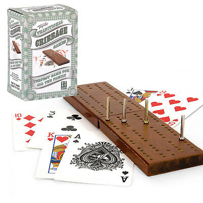 Wooden Cribbage Crib Board Playing Cards Pegs Classic Game Family Christmas